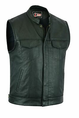Perforated leather biker vest club style cut off waistcoat