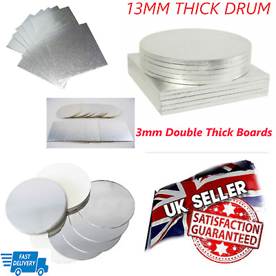 """Cake Boards Double Thickness 3MM & Drums 12MM, V Strong 10"""",12"""",14"""" and 16 Inch"""