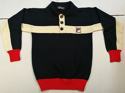 Fila Pullover Pullover Jersey Pullover Vintage Wolle Wolle Seltene '80S Sports