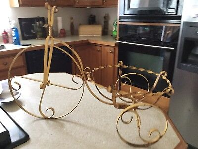 Vintage Mid Century Scrolled Wrought Iron Bike Plant Stand