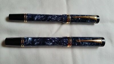 Parker Duofold International Marbled Blue Fountain Pen With 18K Gold Nib
