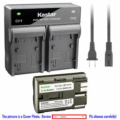 BP-511 Battery orDual Rapid Charger for Canon EOS 50D D30 D60 Kiss, Kiss Digital