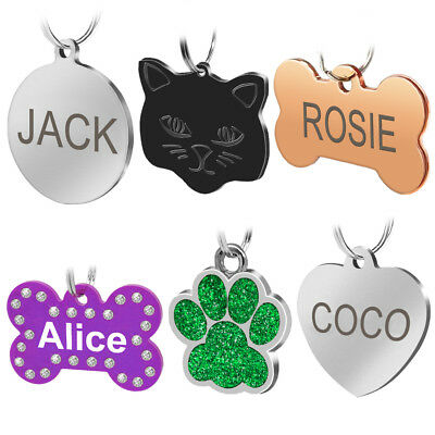 Personalised Cat Dog Tags Free Engraved Bone Round Paw Shape Custom ID Name Tags