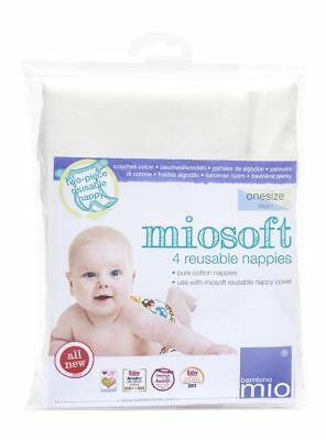 Bambino Mio MIOSOFT REUSABLE NAPPY (ONE SIZE, 4/PACK) Gift Baby/Toddler BNIP