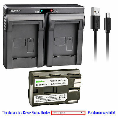 BP-511 Battery or Dual Slim Charger for Canon EOS 50D D30 D60 Kiss, Kiss Digital