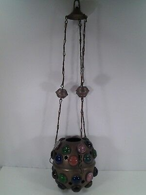 """Antique""""JEWELED"""" Pierced Brass Candle/Light Lamp/Ceiling Fixture"""