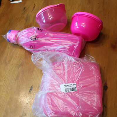 NEW Tupperware Neon Pink Lunch Set .Lunch it,Eco bottle, Ideal Snack Bowls