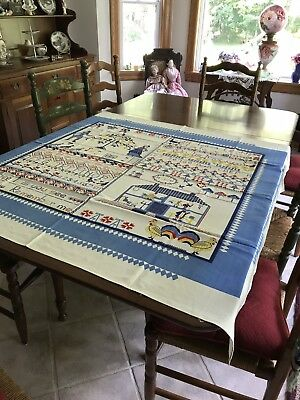Vintage Tablecloth That Looks Like An Old Sampler!
