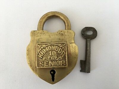 Vintage Solid Brass Padlock Lock Trick Puzzle Decorative Shape Hidden Key Hole