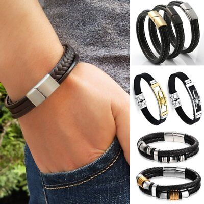 Stainless Steel Magnetic Clasp Men's Braided Leather Punk Wristband Bracelet HOT