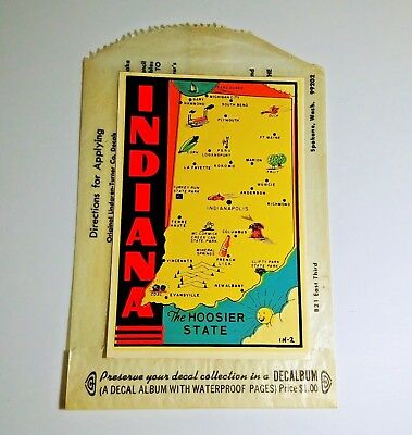 Indiana State Auto Travel Decal Sticker Vintage