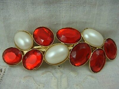 "Vtg 1980's Made In France Faux Pearl Red Resin Jewel Gold Tone 4"" Hair Barrette"