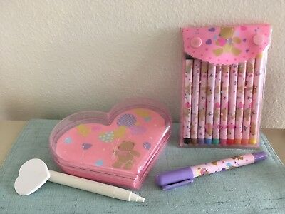 Sanrio Lot Vintage 1980s Hello Kitty bear stationery markers pens used flaws