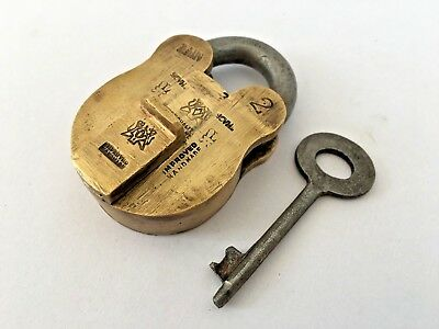 Vintage Brass Solid Improved Hand Made Padlock With Key Heavy Rich Patina Lock
