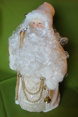 """Victorian Santa Claus Tree or Table Topper 17""""  Beautiful White & Gold"""