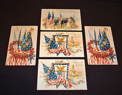 5 Tuck's Postcards 1861-1865 Glory Guards, Old Glory, Honor The Brave Civil War