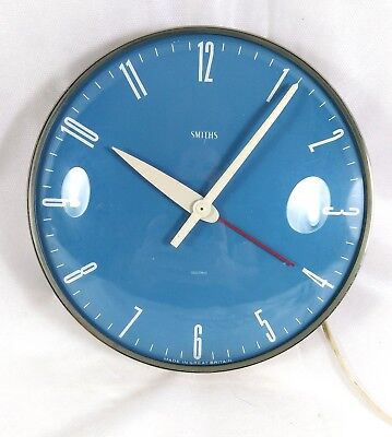 Rare Vintage retro 1950s Mid Century Smiths Sectric Electric blue Wall clock