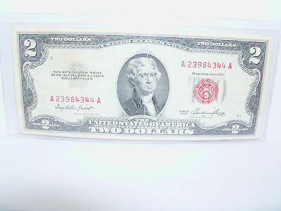 1953 Two Dollar United States Note Legal Tender Red Currency