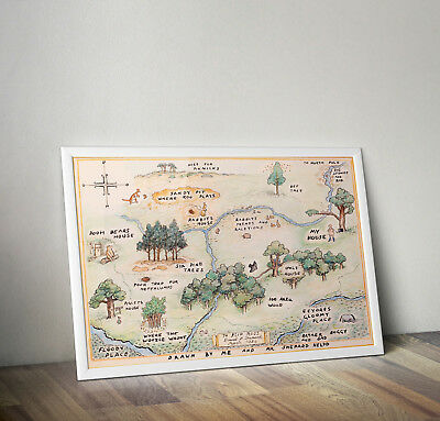 Winnie the Pooh 100 aker wood map poster print wall art gift merchandise