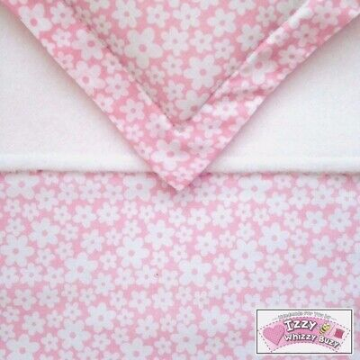 Dolls Pram Blanket and Pillow Cot bedding set Quilt/Duvet - Pretty Pink Daisy 🌸
