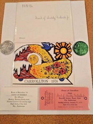 1978 Krewe Of Carrollton Mardi Gras Ball Invite, Admit Card, Envelope, Doubloons