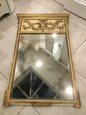 ANTIQUE 19th CENTURY FRENCH TRUMEAU MIRROR. CREAM PAINTED/GOLD GILT. 4ftx3ft.
