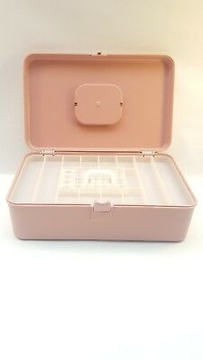 Vintage Wilson Wil-Hold Plastic Sewing Box Thread Bobbin Rosy Pink Medium USA