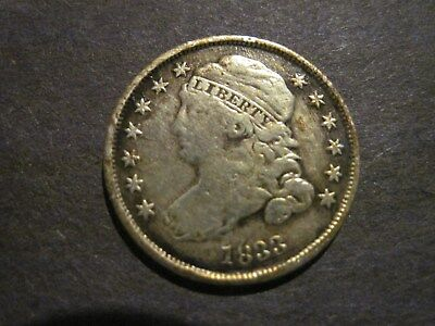 1833 Capped Bust Dime Fine Condition, BEAUTIFUL RIM TONING!!, Good Type Coin!!