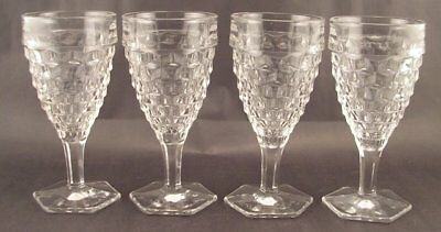 """4 Fostoria American 6 ¾"""" Tall Stemmed Goblets  Hex Foot Ex Condition"""