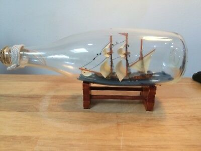 Vintage Ship in a Bottle on Stand Sailing Ship