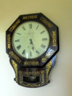 victorian rosewood  brass inlaid fusee wall clock