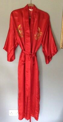 Vintage Kimono Robe / Dressing Gown Red Size L 1980's ?