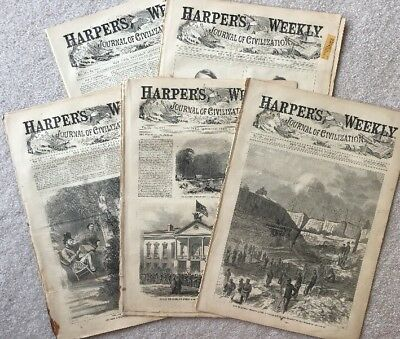 Harpers Weekly LOT OF 5 Authentic issues from 1865 Civil War