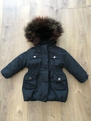 Gap Infant Baby Girl Black Padded Hooded Coat Jacket Age 18-24 Months