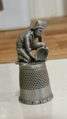 FORT Pewter Thimble with Gold Miner Topper