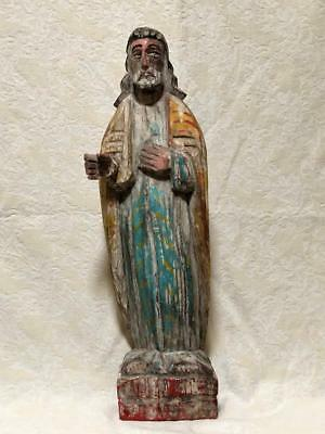 Large Folk Art Primitive Carved Jesus Santos, 19th C., Polychrome Paint