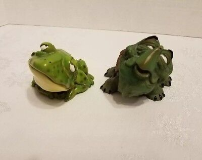 Bobble Head Animal droopy eyed Green Frog /Toad and Turtle whimsical figurines