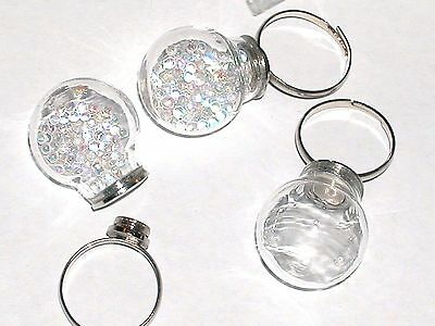 1pc. Bottle Ring fairy Locket Screw cap Globe crystal Ball Glass pixie bulb orb