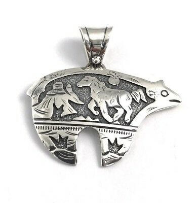 Native American Sterling Silver Navajo Handmade Over Lay Bear Pendant