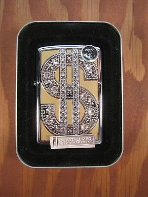 VERY RARE! GOLD EDITION BLING BLING ZIPPO LIGHTER Swarovski Crystals NEW IN BOX!