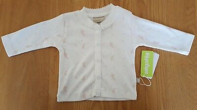 Babyushka Long Sleeve Baby Girl Top w Buttons Size 00 Pink Leaf Patter Brand New