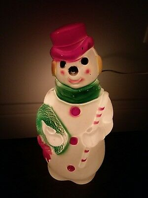 """Vintage 1966 Plastic 13"""" Empire Blow Mold Lighted Christmas Snowman"""
