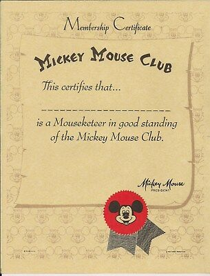 "Vintage Original  Mickey Mouse Club Membership Certificate MINT 8-1/2"" X 11"""