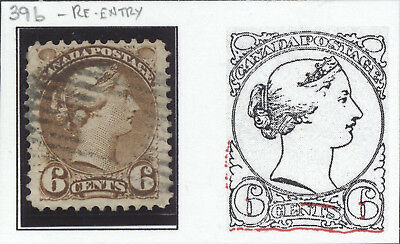 Nice RE-ENTRY on Fine+ Used 6¢ Small Queen #39b