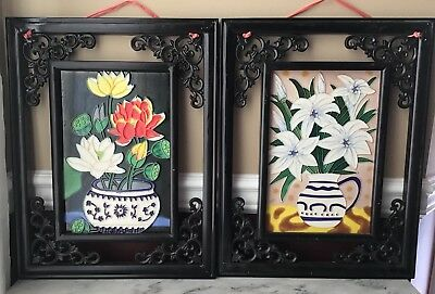 Pair Of Vintage Chinese Stained Glass Art