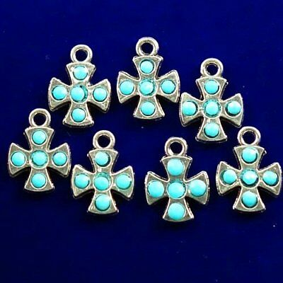 7Pcs Carved Tibetan Silver Flower Wrapped Blue Turquoise Pendant Bead 16x12x3mm