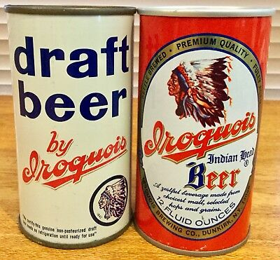 Iroquois Draft & Indian Head Beer.12FL.OZ. Flat Top & Ringpull. Steel Beer Cans