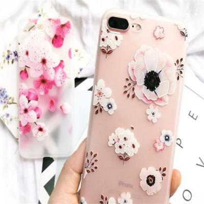 Matte Shockproof Slim Soft TPU Floral Pattern Case Cover For iPhone 6 6s 7 Plus