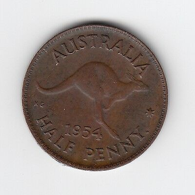 1954P (Y.) Australia Elizii Halfpenny - Very Nice Collectable Coin