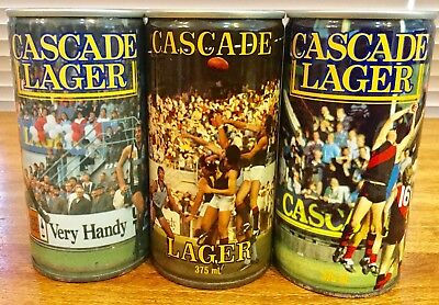 Cascade Lager. 375ml. TANFL. Steel Beer Cans x 3